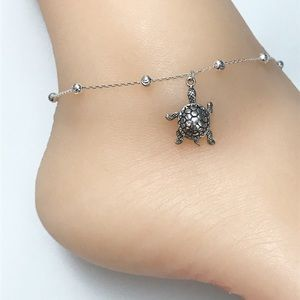 Sterling Silver Turtle Anklet